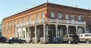 Shaniko Hotel Two Story Brick Building With Wooden Balcony On One Corner Built 1900 Handmade 18 Inch Thick Walls Courtesy Dolores Steele